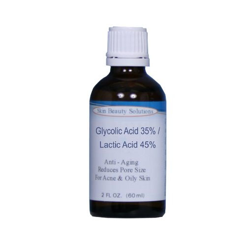 (2 oz / 60 ml) GLYCOLIC 35% / LACTIC 45% Combination Acid Skin Chemical Peel Unbuffered - Alpha Hydroxy (AHA) For Acne, Oily Skin, Scars, Wrinkles, Blackheads, Large Pores & More